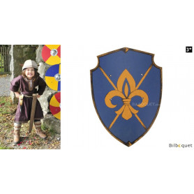 Bouclier royal en bois 36x50cm - Fleur de Lys