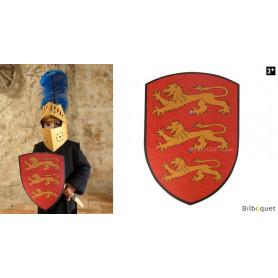 Bouclier en bois 27x37cm - Richard Coeur de Lion - rouge/jaune