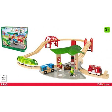 Circuit gare et connexion routière - Circuit de trains en bois