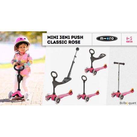 Mini Micro 3-en-1 Push Classique Rose - trottinette et porteur
