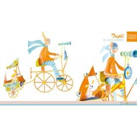 Triplé au chien orange - Mobile en métal