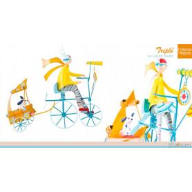 Triplé au chien jaune - Mobile en métal