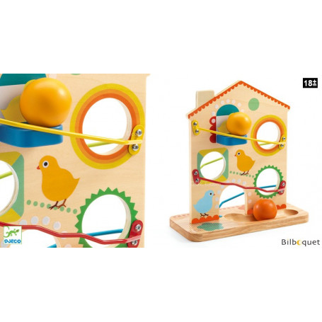 Toboggan Roulatou - Maison à boules en bois - Jouet d'éveil