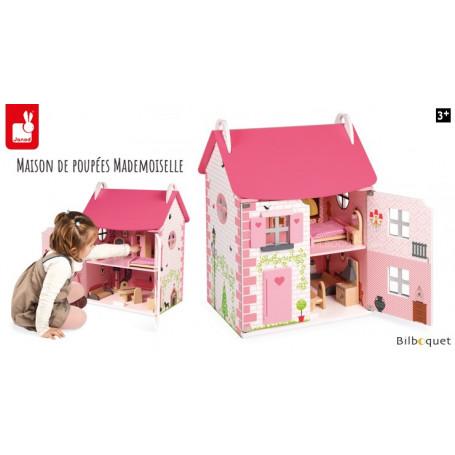 Maison de poupées Mademoiselle avec mobilier - Jouet en bois
