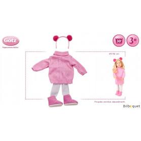 Tenue complète tricot rose - Vêtement pour poupée 45-50cm