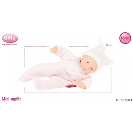 Mini Muffin en pyjama rose 22cm - sans cheveux - Poupée Götz Corps souple
