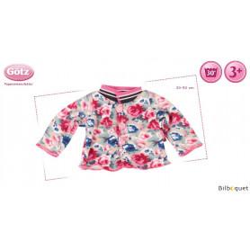 Veste fleurs de roses pour poupon/poupée de 30 à 50cm