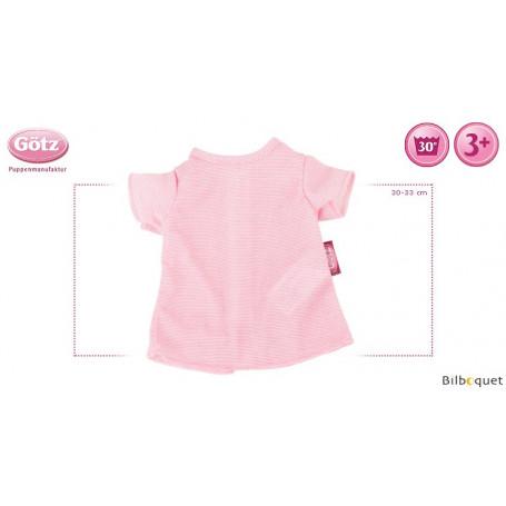 Tee-shirt rayé rose - Vêtement pour poupée 30-33cm
