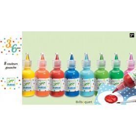 8 bouteilles de gouache-3-6ans - loisirs créatifs enfants