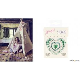 Stickers Coeurs - vert/argent - Accessoire pour les filles