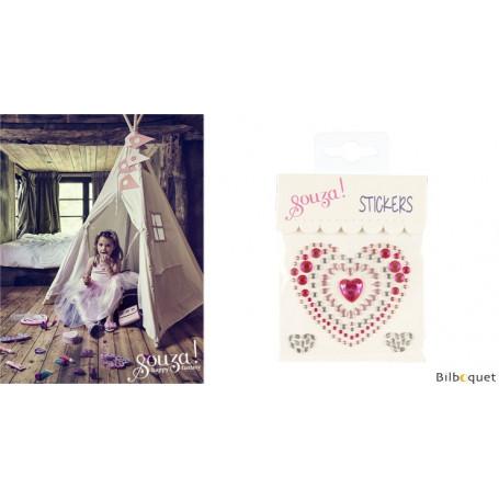 Stickers Coeurs - rose/argent - Accessoire pour les filles