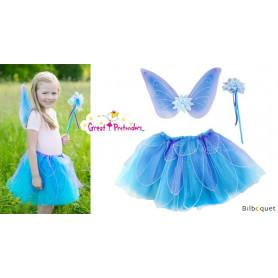 Jupe papillon fantaisie bleue avec ailes et baguette magique