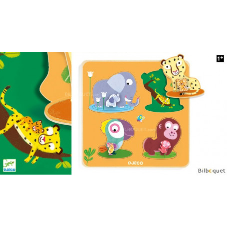 Puzzle gros boutons Mamijungle - Encastrement en bois