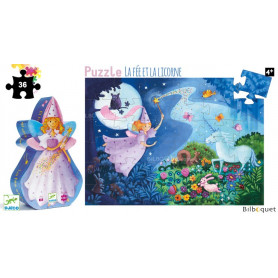 La fée et la licorne - Puzzle Silhouette 36 pièces