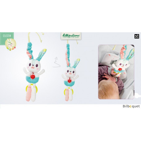 Petit lapin Célestin clochette à suspendre avec anneau de dentition