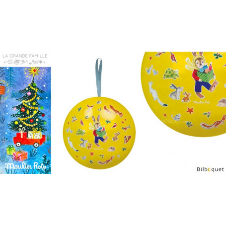 Boule de Noël jaune 10cm La Grande Famille