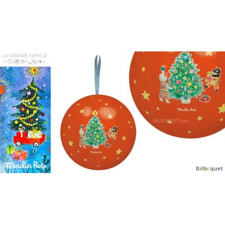 Boule de Noël rouge 10cm La Grande Famille
