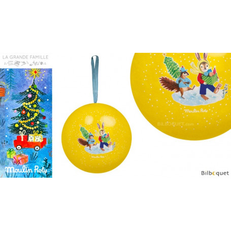 Boule de Noël jaune 7cm La Grande Famille