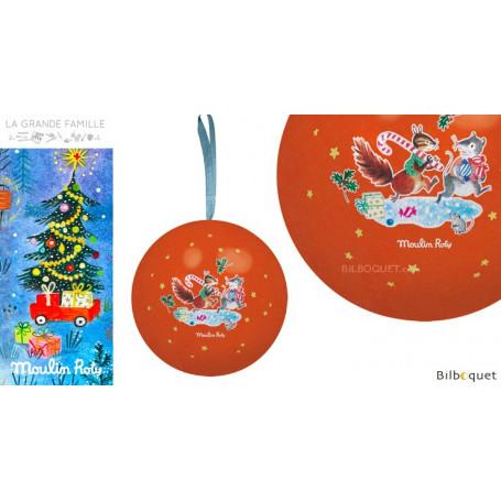 Boule de Noël rouge 7cm La Grande Famille