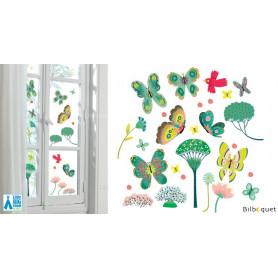 Stickers fenêtre Papillons au jardins