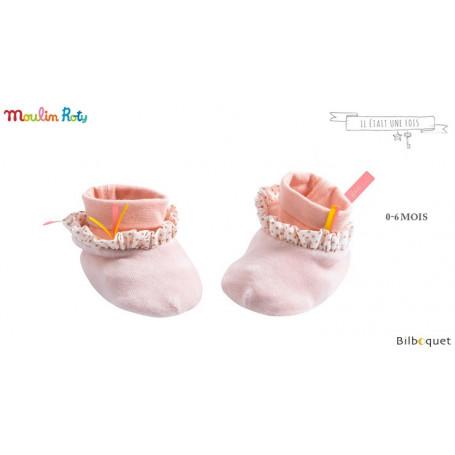 Chaussons roses pâle pour bébé 0-6 mois - Il était une fois - Moulin Roty