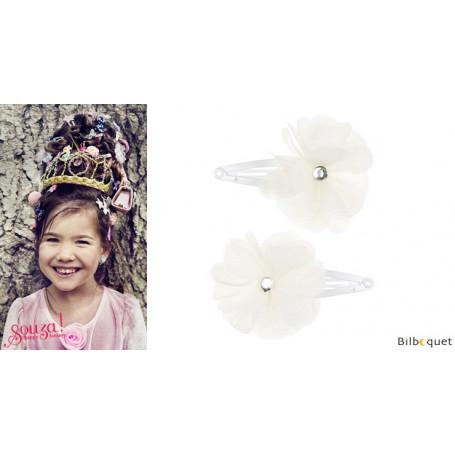 Pinces à cheveux Nanny - fleurs blanches - 1 paire - Accessoire pour enfants