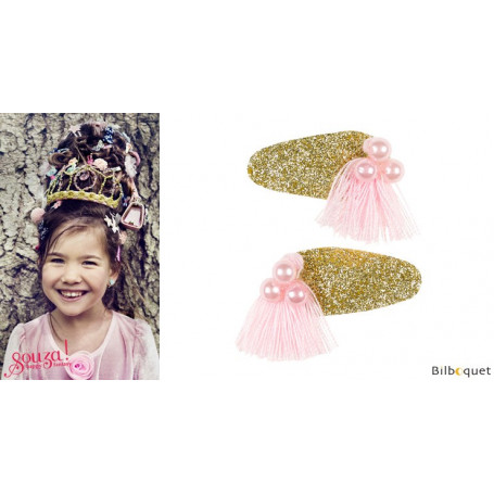 Pinces à cheveux Lyla - perles & pompons roses - 1 paire - Accessoire pour enfants