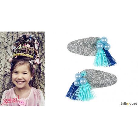 Pinces à cheveux Lyla - perles & pompons bleus - 1 paire - Accessoire pour enfants