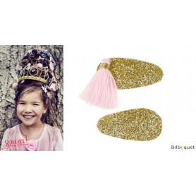 Pinces à cheveux Korene - or & pompons roses - 1 paire - Accessoire pour enfants
