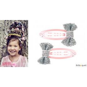 Pinces à cheveux Annelise - noeuds argentés & pinces roses - 1 paire - Accessoire pour enfants