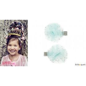 Pinces à cheveux Lauren - noeuds fleuris bleus - 1 paire - Accessoire pour enfants
