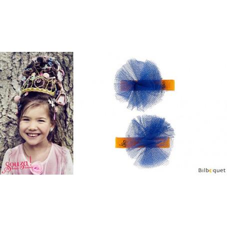 Pinces à cheveux Elly - noeuds fleuris bleu marine - 1 paire - Accessoire pour enfants