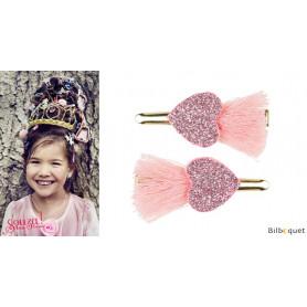 Pinces à cheveux Elleny - coeurs roses - 1 paire - Accessoire pour enfants