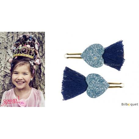 Pinces à cheveux Elleny - coeurs bleu marine - 1 paire - Accessoire pour enfants