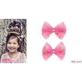Pinces à cheveux Laura - noeuds roses avec étoiles - 1 paire - Accessoire pour enfants