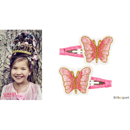 Pinces à cheveux Miranne - papillons roses - 1 paire - Accessoire pour enfants