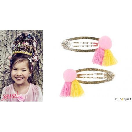 Pinces à cheveux Benthe - pompons rose