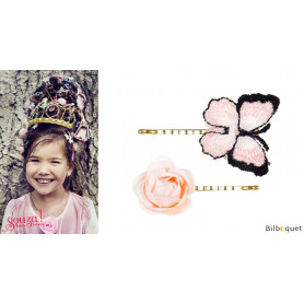 Pinces à cheveux Lise - papillon & rose - 1 paire - Accessoire pour enfants