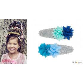 Pinces à cheveux Jenine - fleurs bleues - 1 paire - Accessoire pour enfants