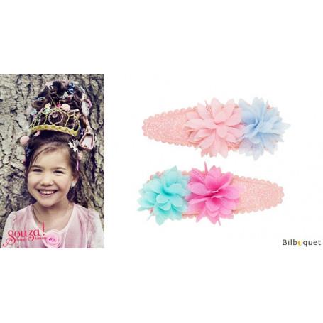 Pinces à cheveux Jenine - fleurs bleu et rose - 1 paire - Accessoire pour enfants