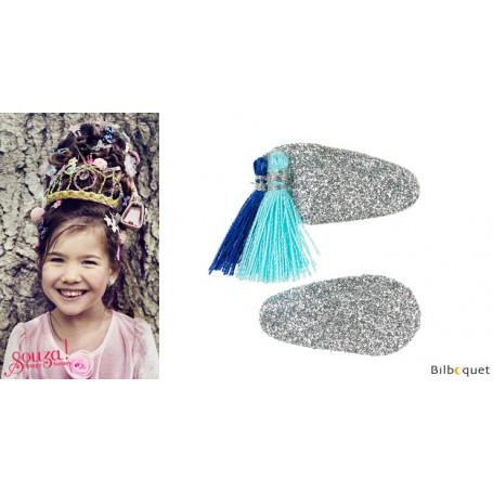 Pinces à cheveux Korene - argent & pompons bleus - 1 paire - Accessoire pour enfants