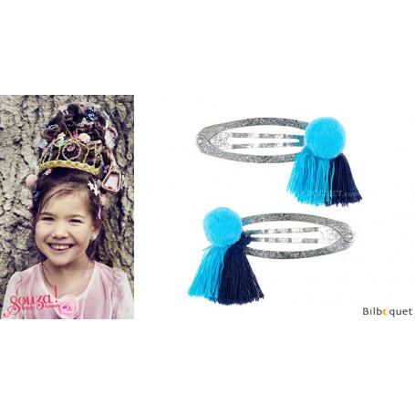 Pinces à cheveux Benthe - pompons bleus - 1 paire - Accessoire pour enfants