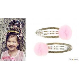 Pinces à cheveux Elise - pompons en tulle rose - 1 paire - Accessoire pour enfants