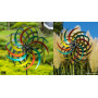 Double fleur - Éolienne de jardin en métal peint