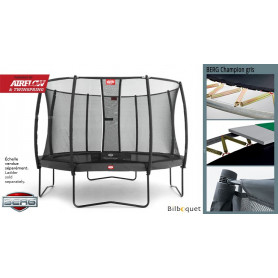 Trampoline BERG Champion gris avec filet de protection Deluxe