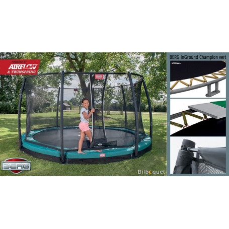 Trampoline BERG InGround Champion vert avec filet de protection Deluxe