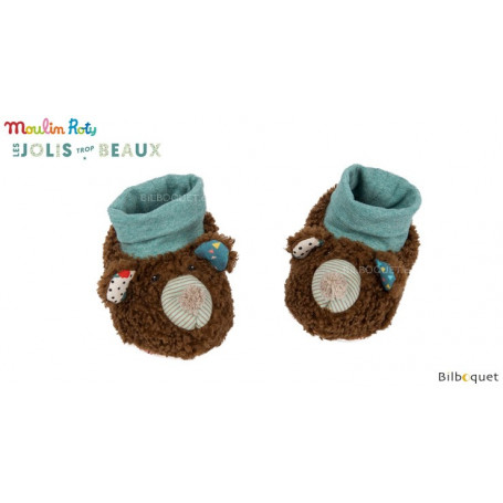 Chaussons ours brun pour bébé 0-6 mois - Les Jolis Trop Beaux