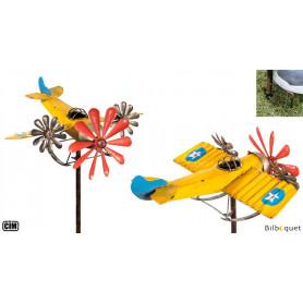 Avion 3 hélices - jaune - Éolienne de jardin en métal peint
