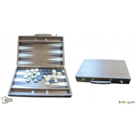 Valise Jeu de Backgammon complet en bois de sipo