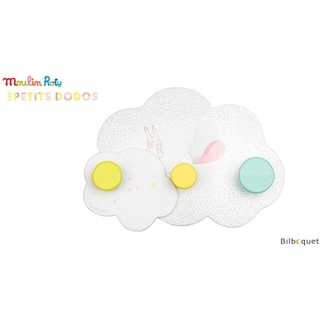 Porte-manteau nuage 3 accroches - Petits dodos - Moulin Roty